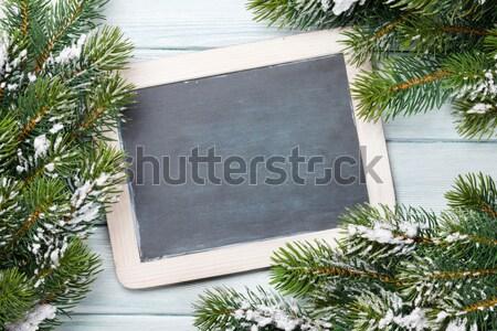 Navidad pizarra nieve mesa de madera superior Foto stock © karandaev