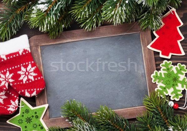 Stock fotó: Karácsony · tábla · dekoráció · fenyőfa · fa · asztal · felső