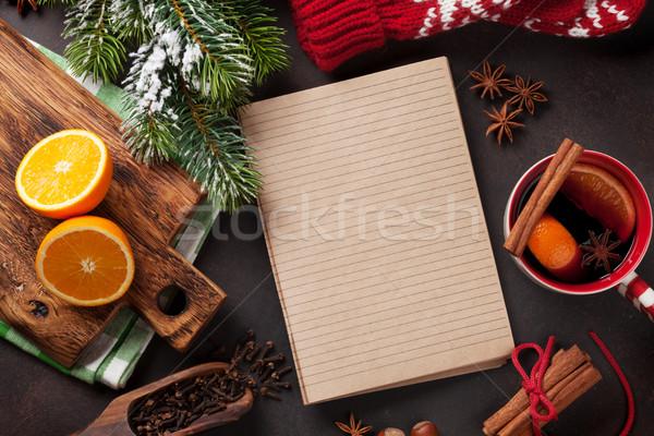 Stockfoto: Christmas · wijn · ingrediënten · top · notepad