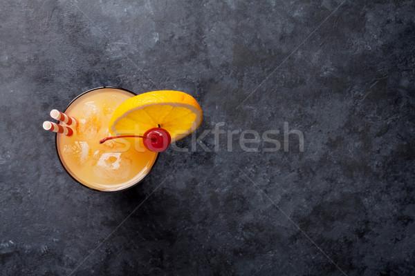 テキーラ 日の出 カクテル 暗い 石 表 ストックフォト © karandaev