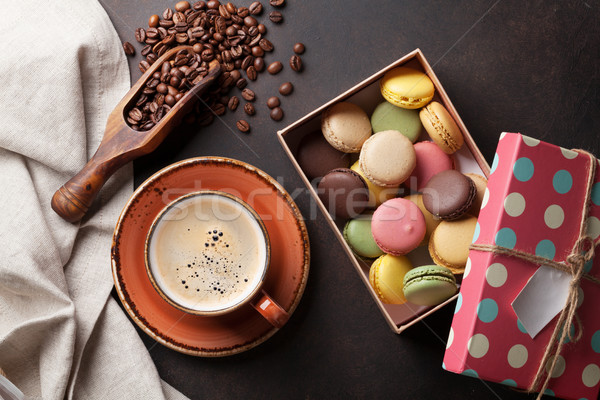 Coffee, chocolate and macaroons on old kitchen table Stock photo © karandaev