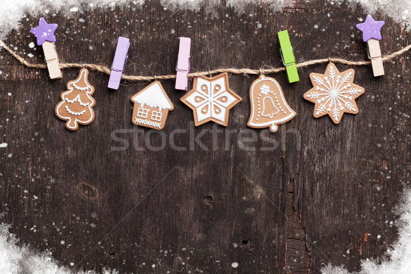 Noel zencefilli çörek kurabiye ahşap üst görmek Stok fotoğraf © karandaev