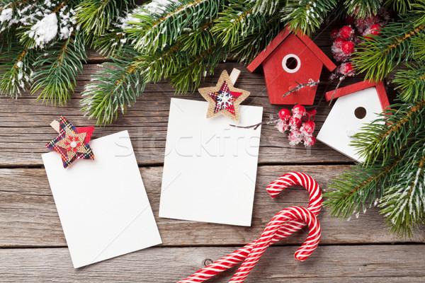 Christmas blank photo frames, birdhouse decor Stock photo © karandaev