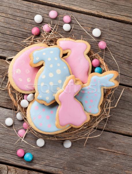 Stockfoto: Pasen · peperkoek · cookies · houten · tafel · eieren · konijnen