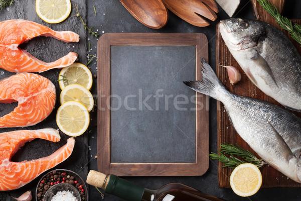 Raw salmon fish fillet and dorado Stock photo © karandaev
