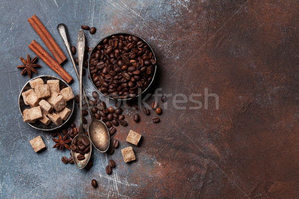 Coffee beans, sugar and spices Stock photo © karandaev