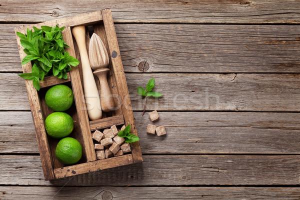 Mojito cóctel ingredientes cuadro bar Foto stock © karandaev