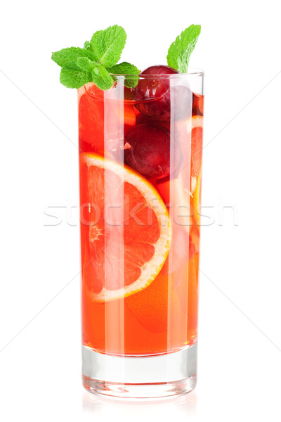 Stock photo: Cocktail collection: Refreshing fruit sangria (punch)