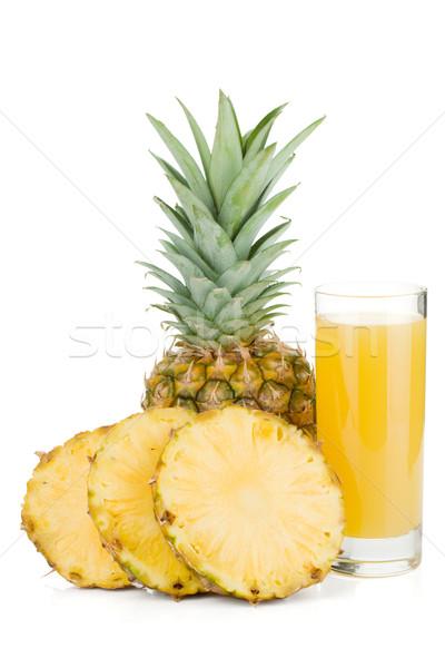 Stockfoto: Rijp · ananas · sap · glas · geïsoleerd · witte