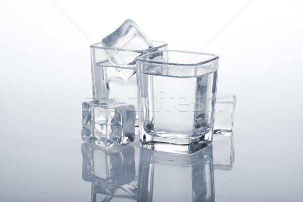 Stockfoto: Wodka · Blauw · partij · glas · achtergrond
