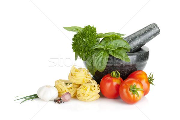İtalyan gıda makarna domates taze otlar yalıtılmış Stok fotoğraf © karandaev