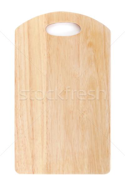 Vágódeszka izolált fehér felülnézet textúra fa Stock fotó © karandaev