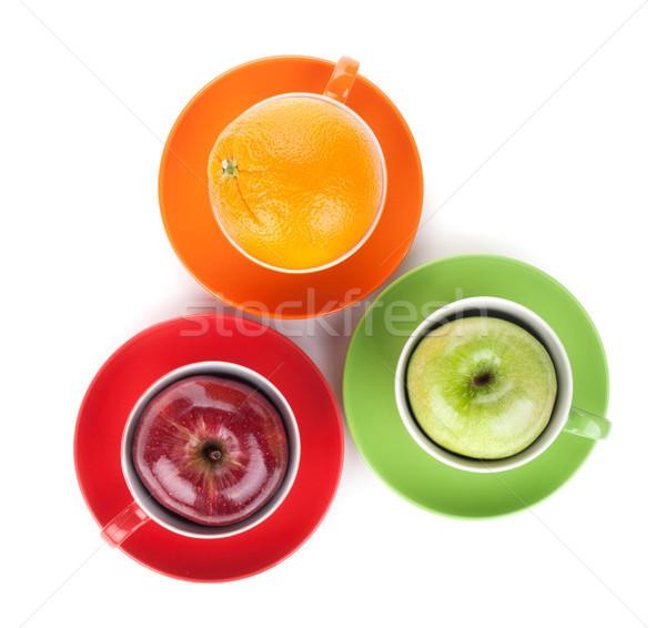 Apfel orange Früchte Tee isoliert weiß Essen Stock foto © karandaev