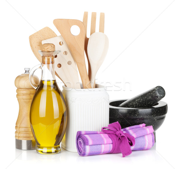 Kitchen utensils and condiments Stock photo © karandaev