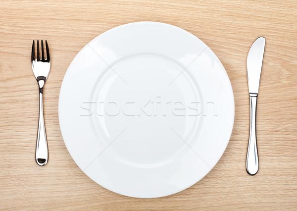 пусто белый пластина столовое серебро деревянный стол Сток-фото © karandaev
