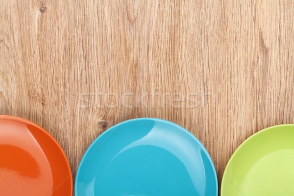 カラフル プレート 木製のテーブル コピースペース 食品 ストックフォト © karandaev