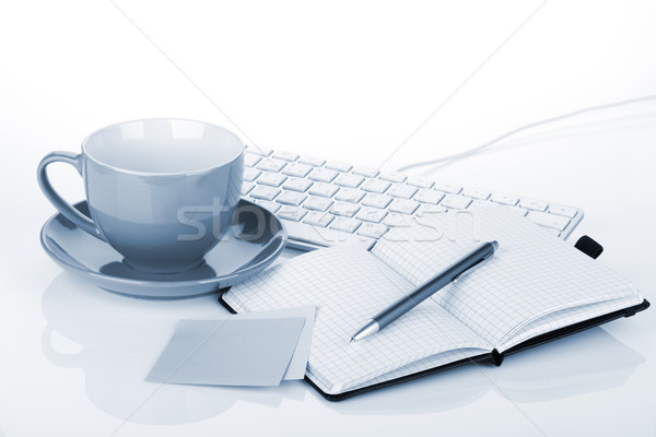 Coffee cup and office supplies Stock photo © karandaev