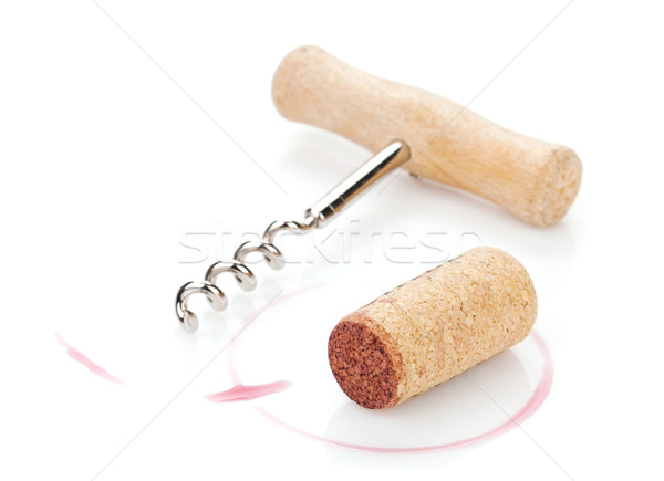 Foto stock: Corcho · sacacorchos · vino · tinto · aislado · blanco