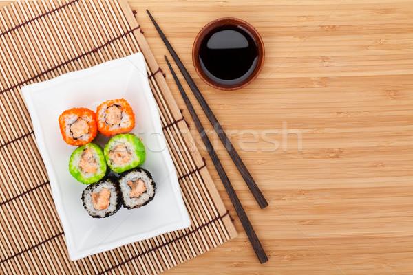 красочный суши маки бамбук таблице копия пространства Сток-фото © karandaev