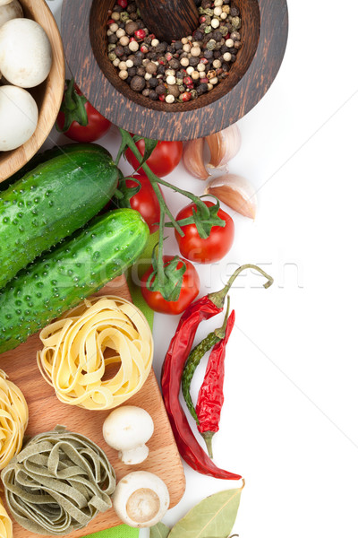 Stockfoto: Vers · ingrediënten · koken · pasta · tomaat · komkommer