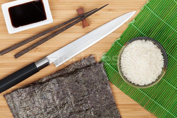 Comida japonesa ingredientes utensílios bambu tabela chinês Foto stock © karandaev