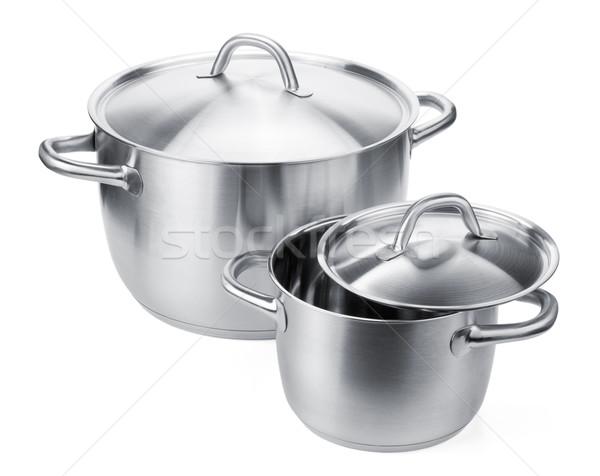 Two stainless steel pots Stock photo © karandaev