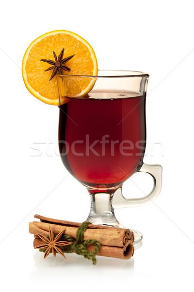 Sıcak şarap turuncu dilim anason tarçın yalıtılmış Stok fotoğraf © karandaev