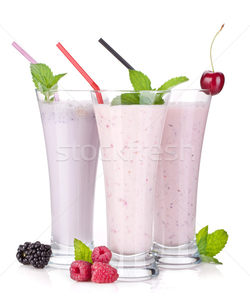 Blackberry, raspberry and cherry milk smoothie with mint Stock photo © karandaev