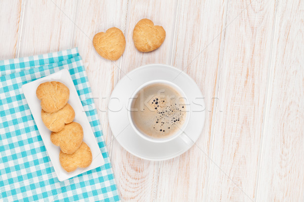 Coffee and heart shaped cookies Stock photo © karandaev