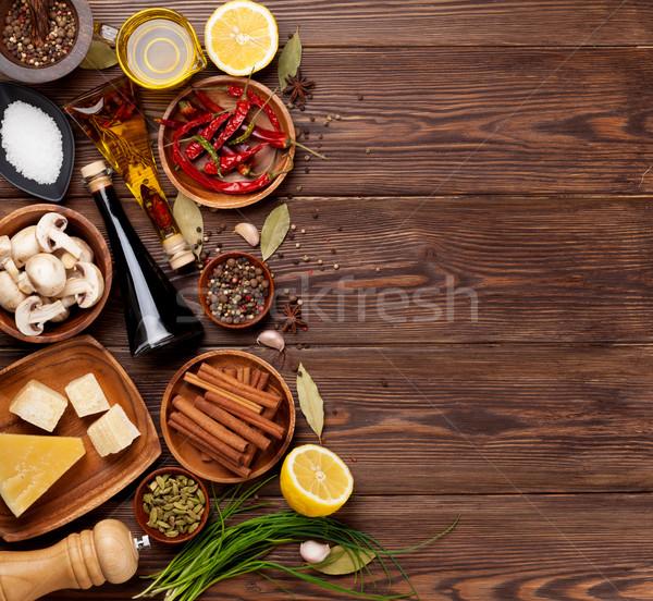 Various spices on wooden background Stock photo © karandaev