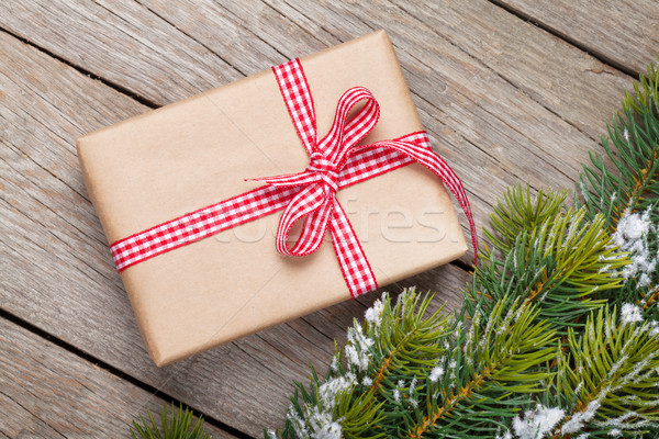 Noël neige coffret cadeau rustique Photo stock © karandaev