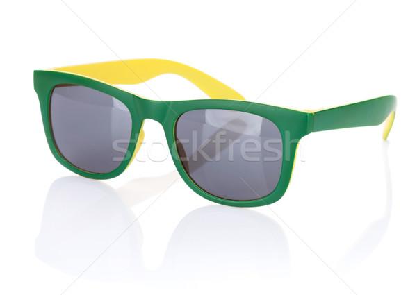 Сток-фото: Солнцезащитные · очки · изолированный · белый · глаза · кадр · зеленый