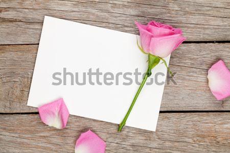 Valentin nap üdvözlőlap fényképkeret rózsaszín rózsa fa asztal felső Stock fotó © karandaev