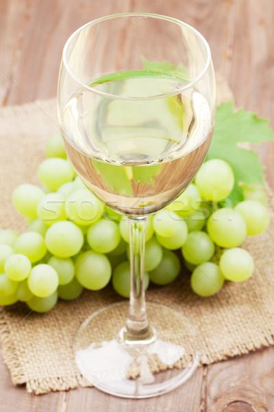 白ワイン ガラス ブドウ 木製のテーブル 食品 ワイン ストックフォト © karandaev