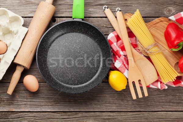 Cooking utensils and ingredients Stock photo © karandaev