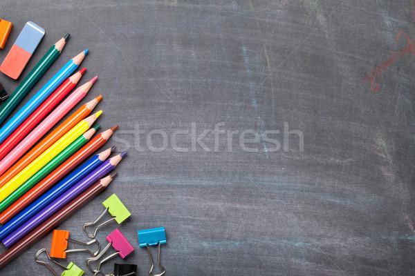 Przybory szkolne tablicy górę widoku kopia przestrzeń szkoły Zdjęcia stock © karandaev