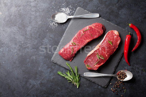 Raw striploin steak Stock photo © karandaev