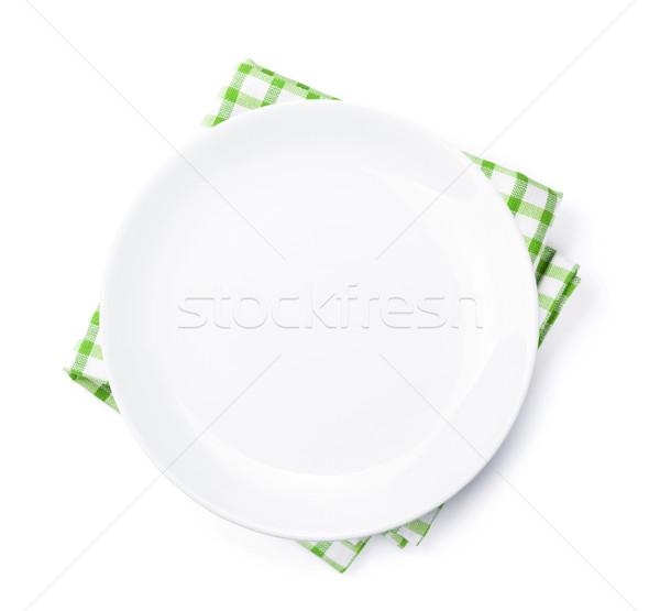 Stock fotó: üres · tányér · konyha · törölköző · felső · kilátás