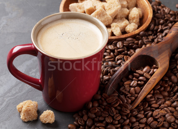 Tazza di caffè fagioli zucchero di canna pietra tavola alimentare Foto d'archivio © karandaev