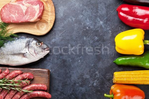 Sebze balık et pişirme malzemeler domates Stok fotoğraf © karandaev