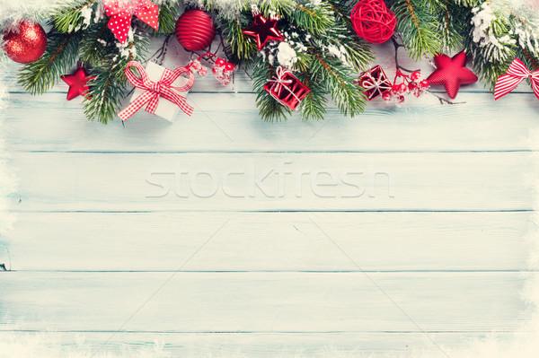 Christmas śniegu dekoracji górę Zdjęcia stock © karandaev