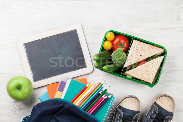 обед окна школьные принадлежности овощей сэндвич деревянный стол Сток-фото © karandaev