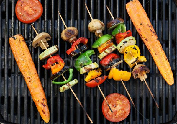 Grelhado legumes cozinhar topo ver comida Foto stock © karandaev