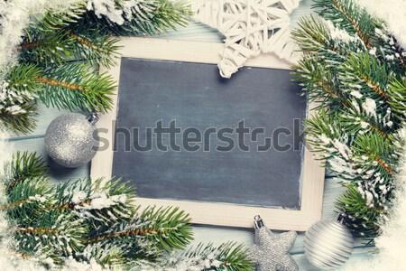 Christmas chalkboard, decor and fir tree Stock photo © karandaev