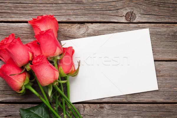 Walentynki kartkę z życzeniami red roses górę widoku Zdjęcia stock © karandaev