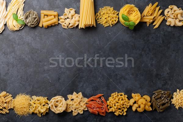 Foto stock: Macarrão · cozinhar · topo · ver · espaço
