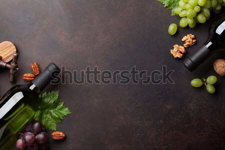 Wine, grape and nuts Stock photo © karandaev