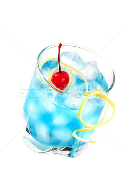 Blue alcohol cocktail with maraschino Stock photo © karandaev