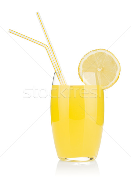 Stock photo: Lemon juice glass and two drinking straw