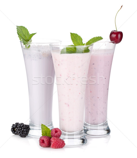 BlackBerry framboise cerise lait smoothie menthe Photo stock © karandaev